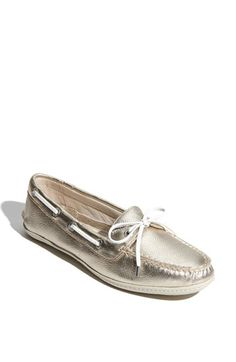 Women/'s Sperry Top-Sider Maya Flat Platinum Gold//Silver Leather Sz 7 NEW