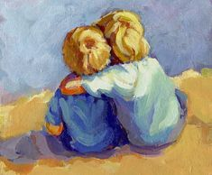 FAMILY TIES paper giclee 7 3/4 x 10 two boys looking out