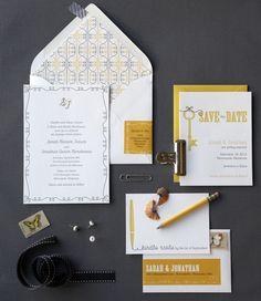 Papelaria de casamento completa, elegante e muito simples. Gostei de como o endereço é feito em adesivo digital no envelope.