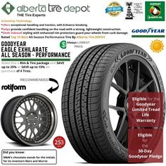 Goodyear EAGLE EXHILARATE All Season Performance Tire 215/45ZR17 XL 91W Rotiform Wheels Goodyear Eagle, Service Map, Performance Tyres, Wheels, Seasons, Free Time, Car Accessories, Auto Accessories, Seasons Of The Year