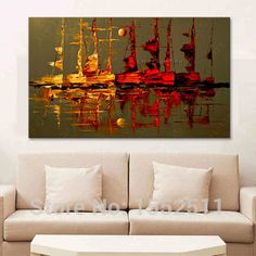 Canvas painting Acrylic boat sailing abstract painting wall art picture for living room home decor quadros caudros decoracion 02