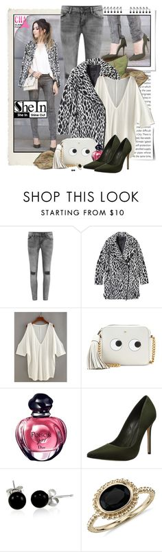 """""""SHEIN ( Open Shoulder Top )"""" by giovanadoll ❤ liked on Polyvore featuring Oris, VILA, Banana Republic, Anya Hindmarch, Schutz, Bling Jewelry and Blue Nile"""
