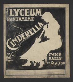 Pen and ink illustration advertising the twice daily performances of The Lyceum Pantomime, Cinderella . The image is signed by the artist, E.P.Kinsella, in the bottom right hand corner, 1918