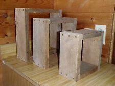 3 Handmade Rustic Primitive Reclaimed Weathered Barnwood  Box Shelves Christmas