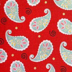 Fat Quarter- Ooh La La by Dana Brooks of Lazy Daisy Cottage- Pattern #9312 Playful Paisley in Red Background on Etsy, $5.15