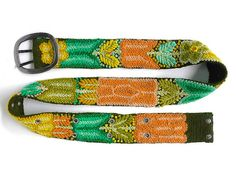 Olive Embroidered belt handmade belt floral by EmbroideryPeru