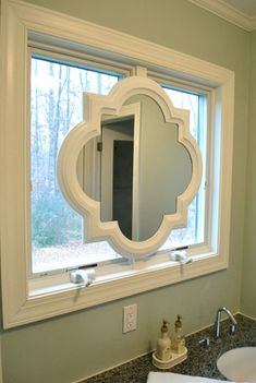 Bathroom Mirrors Over Windows symmetry bathroom | gardens, vanities and bath