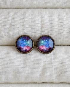 Universe post earrings, Multicolor stud earrings, Galaxy earrings, Space studs, Science stud earrings, Universe lovers jewelry gift