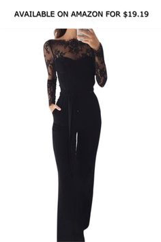 1a3ecb11562 Elegant Off Shoulder Lace Rompers Jumpsuit Sexy Long Trousers Overalls  Jumpsuit ◇ AVAILABLE ON AMAZON FOR