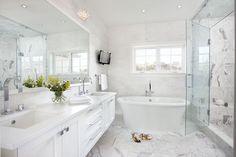 modern marble bathroom; double floating vanity