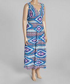 Look what I found on #zulily! Blue Geometric Surplice Maxi Dress - Plus #zulilyfinds