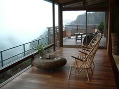 Would love to experience this perfect misty morning view from the balcony of a modern ryokan called Hakone-Ginyu in Hakone, Japan