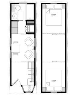 824 foot tiny house on wheels layout. perfect for 2 kids and