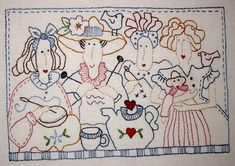 "Bronwyn Hayes ""Tea With Friends"" Embroidery Hoop Art, Hand Embroidery Patterns, Vintage Embroidery, Cross Stitch Embroidery, Machine Embroidery, Embroidery Designs, Quilting Projects, Sewing Projects, Red Brolly"
