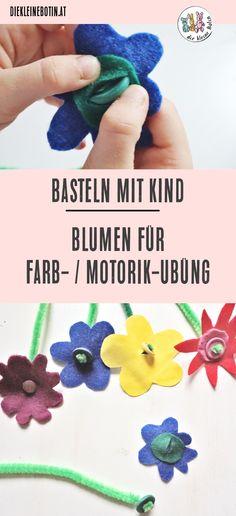 """Basteln mit Kindern Nachhaltige und schnelle Idee mit tollem Lerneffekt: die Motorik-Übung und Farberkennung steht bei den hübschen Blumen im Fokus! Schritt-für-Schritt-Anleitung PLUS 5 tolle Ideen für Basteln mit Kindern im Frühling. """"Hilf mir, es selbst zu tun"""" empfiehlt Maria Montessori - so lernen Kinder spielerisch Knöpfe zu öffnen und zu schließen #motorik #montessori"""