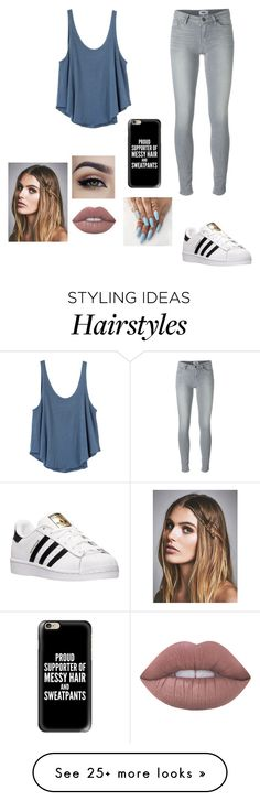 """""""MESSY HAIR & SWEATPANTS"""" by xxxtumblr-addictxxx on Polyvore featuring Paige Denim, RVCA, adidas, Free People, Lime Crime and Casetify"""