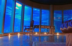 Underwater room large acrylic panel windows, concrete honeycomb shell structure, feasible architecture, http://yook3.com, Wilfried Ellmer