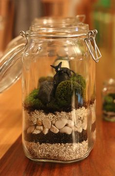 Studio Ghibli Moss Terrarium - Jiji the cat from Kiki's Delivery Service