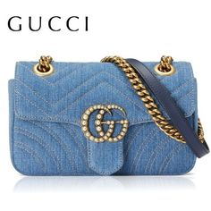 GG Marmont Japan Limited Edition GUCCI mini bag denim GG Momento ($1,897) ❤ liked on Polyvore featuring bags, handbags, gucci, blue bag, gucci bags, denim purses and gucci purse