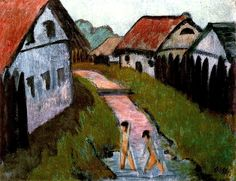 Village Creek with Bathers, Otto Müller  - circa 1928
