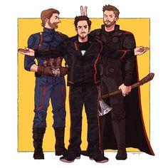 Steve Rogers, Tony Stark and Thor