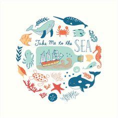 'Take Me to the Sea' Art Print by Anais Lee Sailor Illustration, Beach Illustration, Ink Illustrations, Graphic Design Illustration, Kids Prints, Art Prints, Illustration Inspiration, Pottery Painting Designs, Sea Art