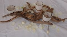 Driftwood Centerpiece, Driftwood Candle Holder - Centerpiece..Δεξίωση γάμου στολισμός στο τραπέζι.θαλασσόξυλα Nature Decor, Driftwood, Branches, Natural, Wedding, Valentines Day Weddings, Natural Decorating, Weddings, Nature