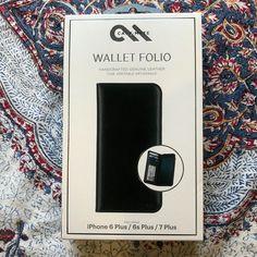 Genuine Case-Mate Wallet Folio Case for iPhone 7 Plus, 6s Plus, 6 Plus - Black