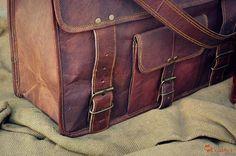 """Leather Briefcase 16"""" / Vintage Leather Messenger Bag / Handbag / Satchel / Hip Bag / Shoulder Bag / Carry Bag / Cabin Travel Bag / Laptop"""