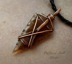 Arrowhead necklace Wire wrapped pendant Wire by PillarOfSaltStudio