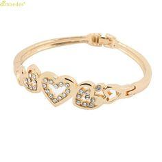HOT Brand The New Women s Fashion Lady Rose Gold Love Bracelet Crystal  Bracelet Friendship Bracelets 7f67e5fb484c