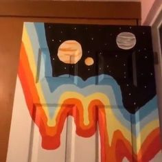 tiktok painting Painting my bedroom door what are - Aesthetic Painting, Aesthetic Rooms, Aesthetic Art, Painted Bedroom Doors, Painted Doors, Cute Diy Room Decor, Cosy Room, Mirror Painting, Bedroom Art
