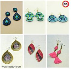 Fuchisia pink, turquoise blue; long hangings or short studs, binding beads or oxidized metals. Pick and click to buy.   For more trendy danglers and drops, visit http://www.wowtrendy.com/  #earrings #handmadejewellery #onlinejewellery #wowtrendy