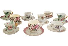 Service for 9, Mismatched Vintage Tea Cups and Saucers.  Perfect for a Tea Party, Tea, Soup or more...$249