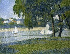 "Charles Angrand ""The Seine at Courbevoie"", 1888 Post Impressionism, Impressionist, Georges Seurat, Fauvism, French Art, Color Splash, Modern Art, Master Art, Painters"