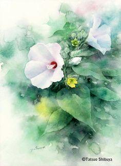 Tatsuo Shibuya Watercolor Negative Painting, Watercolor Painting Techniques, Watercolor Rose, Watercolor Artists, Watercolor Landscape, Abstract Watercolor, Watercolor Illustration, Arte Floral, Flower Art