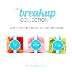 """Breakup Collection: Alternatively, use the candies to create cocktail party-starting sets (packaged in a smart silver flasks and shakers) and breakup kits proclaiming """"Stop kissing (green apple) frogs"""" and """"Plenty more (Swedish) fish in the sea."""""""