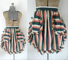 1940s Striped Ruffled Apron Vintage Cook by looseendsvintage