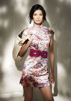 "Shanghai Tang: ""Lion Ikat"" Printed Silk Cotton Qi Pao, I love the buttons on the slit, pretty with or without the belt"