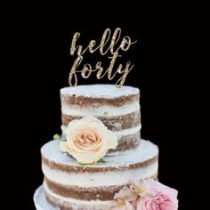 40th Birthday Cake Topper Hello Forty Happy By PopFizzPizzazz Cakes Special