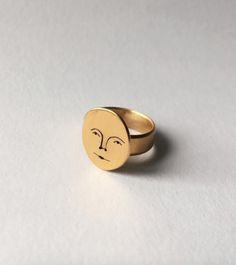 A 24 carat gold plated sun face ring. The band and face is hand cut and made by me in Bristol from recycled sterling silver, plated in Plymouth,. Dainty Jewelry, Cute Jewelry, Gold Jewelry, Jewelry Box, Jewelry Accessories, Women Jewelry, Jewlery, Handmade Accessories, Bling Bling