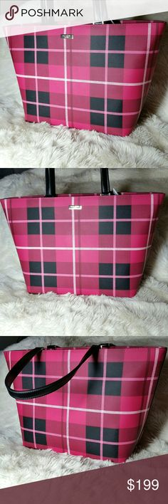 "Kate Spade Tote Grant Street Jules Pink Plaid Bag Kate Spade Tote Grant Street Jules Pink Plaid Bag. Pink and black all over plaid print, accented with black handles. Gold plated logo and hardware. Full zip top closure. This is a large tote with a generous strap drop to fit over the shoulder. Interior boasts 2 open pockets and 1 zip pocket. New with tags, has never been carried. The size is great for back to school or work.   19"" long at longest point (top), 11.5"" tall & 6.5"" wide 9"" strap…"