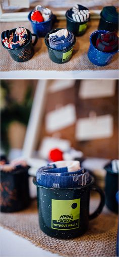 Pure Rustic-Groomsmen gifts! Socks and campfire mugs, easy, affordable and eclectic!
