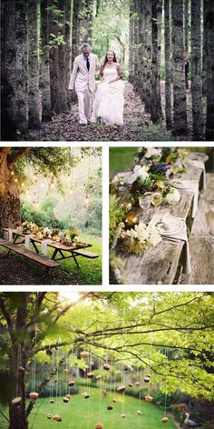 Forest Wedding | Love the combination of different green shades, light grey and dark red