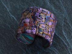 Cuff bracelet Polymer clay bracelet Handmade jewelry Wide