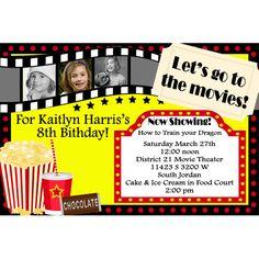 Movie Theater Custom Photo Birthday Invitation