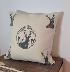 Hand printed Stag Cushion Cover
