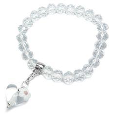 alexiss Schmuckset - Bettelarmband mit transparenten Herz und weißer Blüte