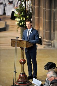Actor Benedict Cumberbatch, a distant relation of the king, read a poem by Poet Laureate Carol Ann Duffy during the service for the re-burial of Richard III at Leicester Cathedral - 26th March 2015