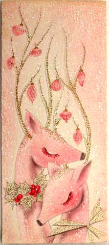 Old Christmas Post Сards — Modern Pink Glittered Deer, Mid Century Shabby Chic Christmas, Old Christmas, Retro Christmas, Vintage Christmas Cards, Vintage Holiday, Christmas Pictures, Christmas Greetings, Christmas Holidays, Christmas Crafts